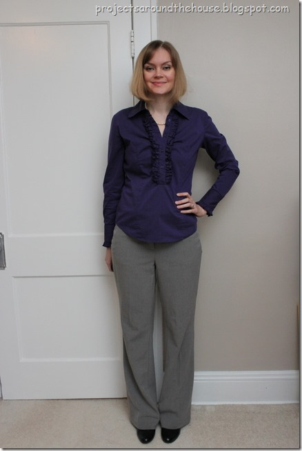 purple button down, grey slacks