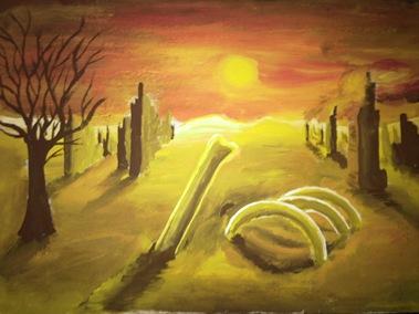 Peisaj depresiv cu oase si ruine