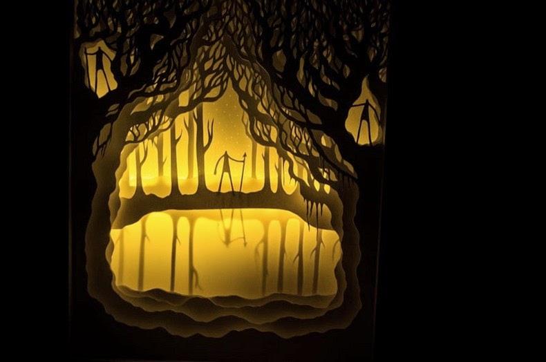 illuminated papercut light boxes by hari deepti amusing planet. Black Bedroom Furniture Sets. Home Design Ideas