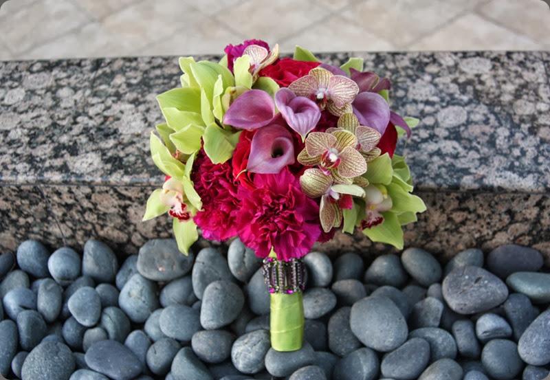 carnations fuchsia-magenta-green-orchid-bouquet aileen tran