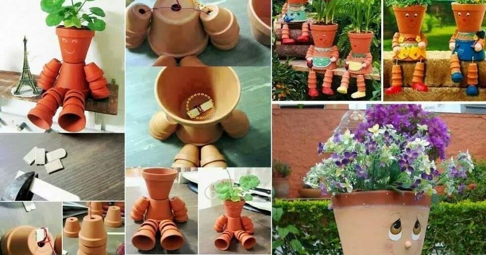 id es fait main comment recycler vos pots de fleurs en bonhomme rigolo. Black Bedroom Furniture Sets. Home Design Ideas