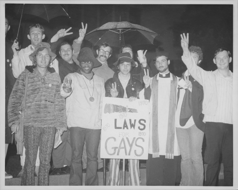 Demonstrators at the Hollywood candlelight march for homosexual law reform. 1970.