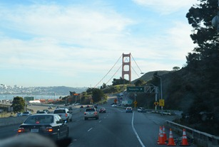 The Golden Gate Bridge coming from the north