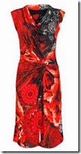 Desigual Red Print Cowl Neck Dress