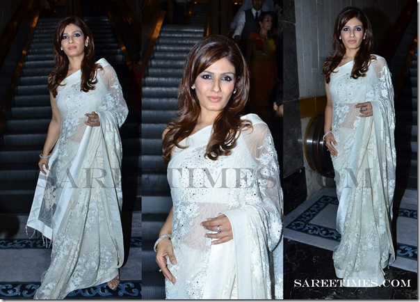 Raveena_Tondon_White_Saree