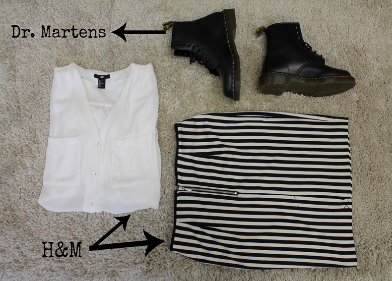 DR. MARTENS, blousa and skirt H&M