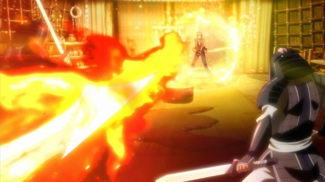 A dramatic special fx scene showing fire bursting forth from a sword from the viewer's perspective colliding with Arata's magical golden shield as a soldier stands on the sidelines