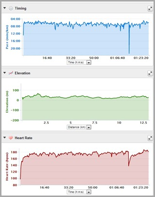 Pace, Elevation and HR chart