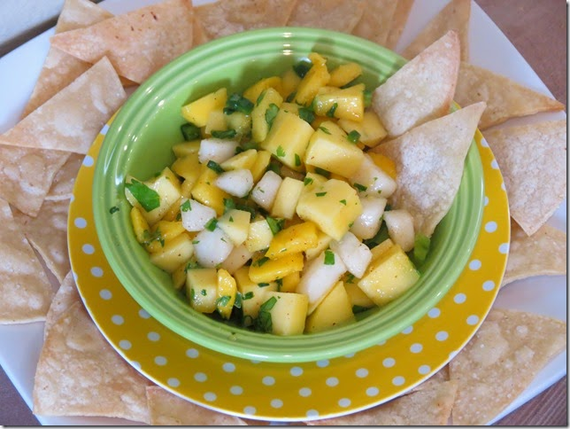 Spicy Mango Lime Salsa with Pears and Homemade Corn Tortilla Chips