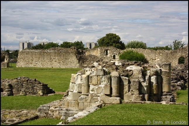 Toppled pillars at Lesnes Abbey