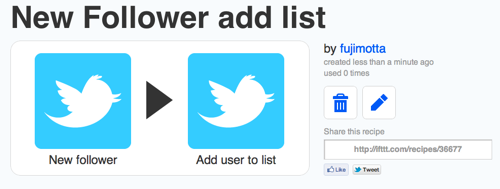 Ifttt  New Follower add list