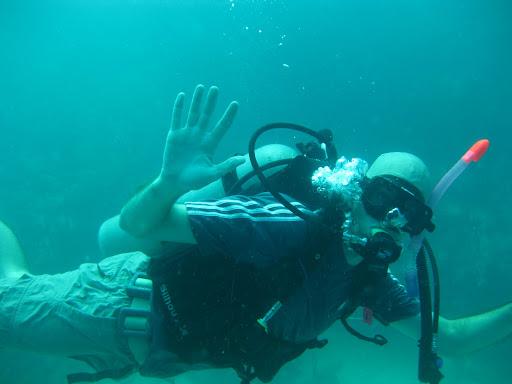 Erik diving off Utila, Bay Islands, Honduras
