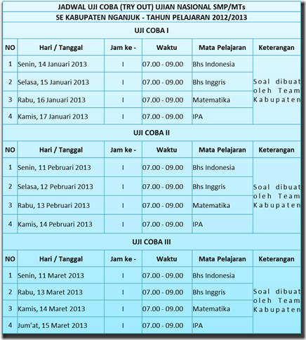 Jadwal Tryout 12-13