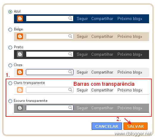 Como deixar navbar transparente no blogger
