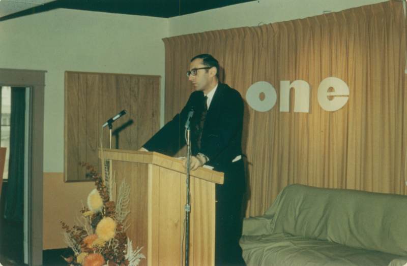 Brittish gay activist Antony Grey speaks at ONE Incorporated. ONE Incorporated with the financial support of Reed Erickson sponsored a national speaking tour for Mr. Grey. 1967.