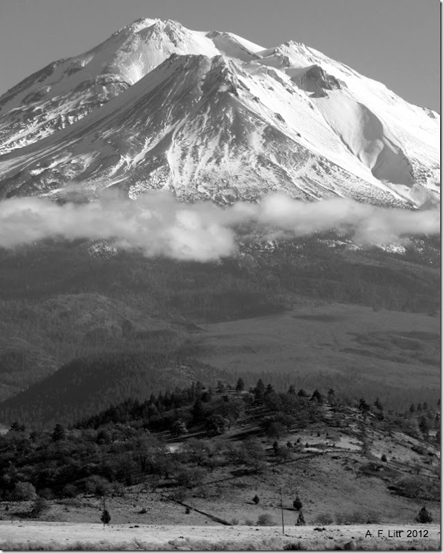 Mt. Shasta above the clouds.   Weed Airport Rest Area.  Northbound.  Near Weed, California.  November 25, 2012.  Featured: December 9, 2012.