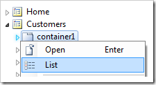 List context menu option for container node in Project Explorer.