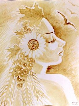 Portretul Demetrei pictat cu cafea