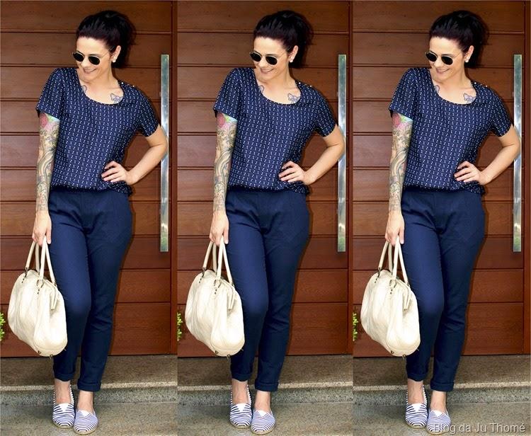 look calça de linho azul, blusa e alpargatas listradas2