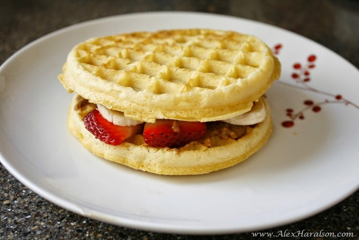 Almond Butter Honey Strawberry Banana Waffle Sandwich4