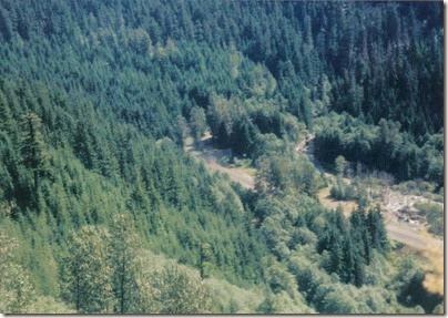 View from Windy Point on the Iron Goat Trail of BNSF Freight Train emerging from Cascade Tunnel in 1998