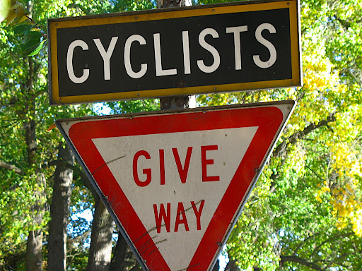 Road sign in Christchurch, New Zealand. Cyclists Give Way.
