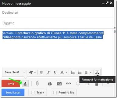 Gmail Rimuovi formattazione