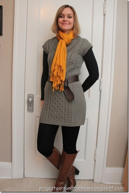 gray sweater dress, black leggings, cognac knee hi boots, mustard scarf