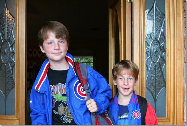 boys in their Cubs jackets from Grandma