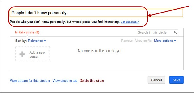 Renaming a circle