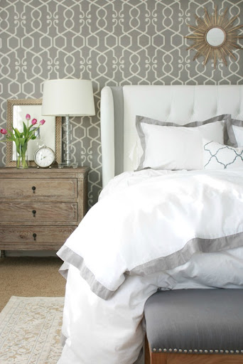 Lovely They Plays Off The Gray Panels Of Our Custom Bed And Is Just Enough Color  To Make The Bedding Standout More.