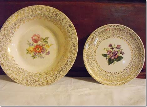 African Violet gold leaf salad plate partnered with Am Limoges