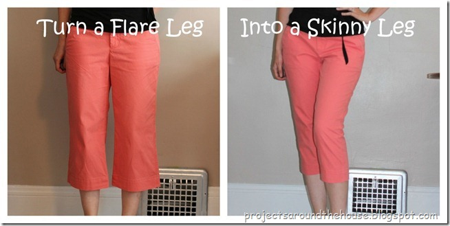 turn a flare leg into a skinny leg capri refashion