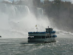 Niagara Falls from the Maid of the Mist with another Maid of the Mist in the picture. Crazy, eh.