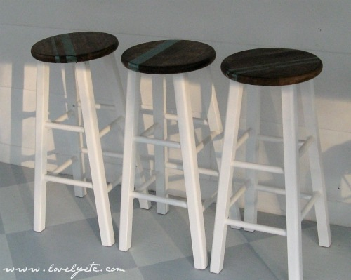 white and stain stools