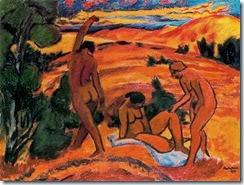 Tres desnudos en un paisaje 1917
