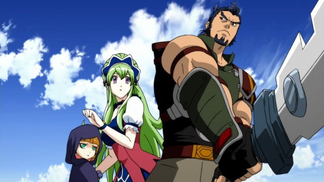 The other three main characters (Sainglain, Marian, and Ecarlate) in a dramatic post against a blue sky backdrop