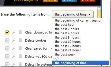 History Eraser intervalli di tempo per eliminare dati navigazione