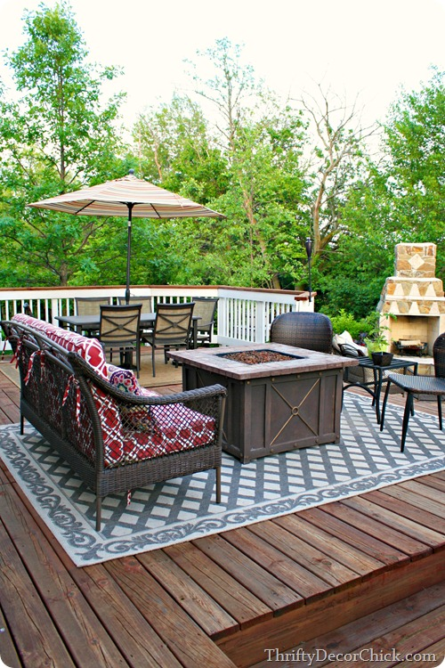 large deck with living areas