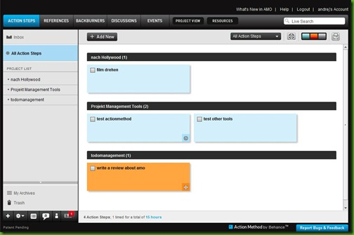 action method task and todo manager dashboard screenshot