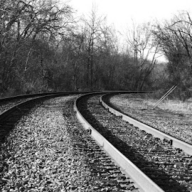 by Kavori Huffman - Transportation Railway Tracks ( crane mo, train tracks, railroad tracks )