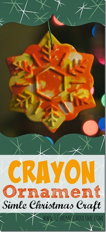 Crayon Ornament - This DIY ornament is fun christmas craft for toddlers, preschool, kindergarten, first grade, 2nd grade and kids of all ages. It is easy to make crayon craft