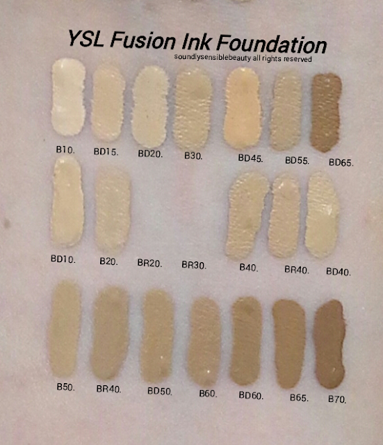 YSL Fusion Ink Foundation Swatches of Shades; (Yves Saint Laurent Ink Fusion Foundation)