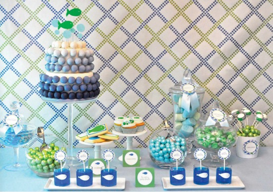 Party or baby shower idea using blues and greens and fish theme, from The Party Dress magazine, fall issue
