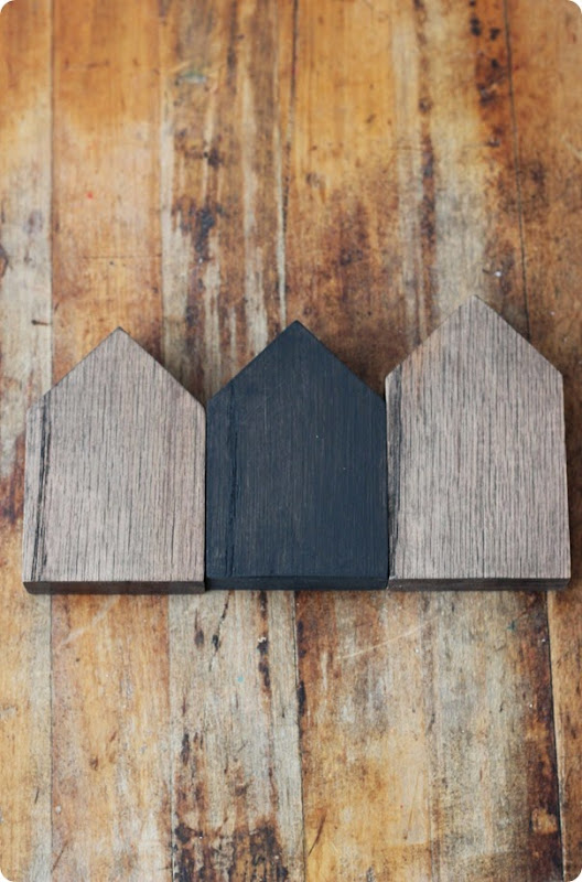 stained or painted miniature wood houses