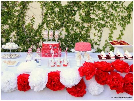 שולחן אדום לבן