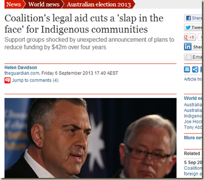 Coalition's legal aid cuts a 'slap in the face' for Indigenous communities - World news - theguardian.com