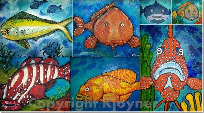 Folk Fish Art By KJoyner