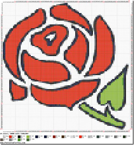 Ponto cruz graficos de rosas  5