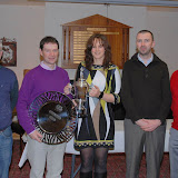 Winners of the Mens' Singles Ladder 2009 ;-James Doyle, John Mc Hugh 1st, Ann Barry (Captain), James Hardiman, Padraig Hackett (Organiser)